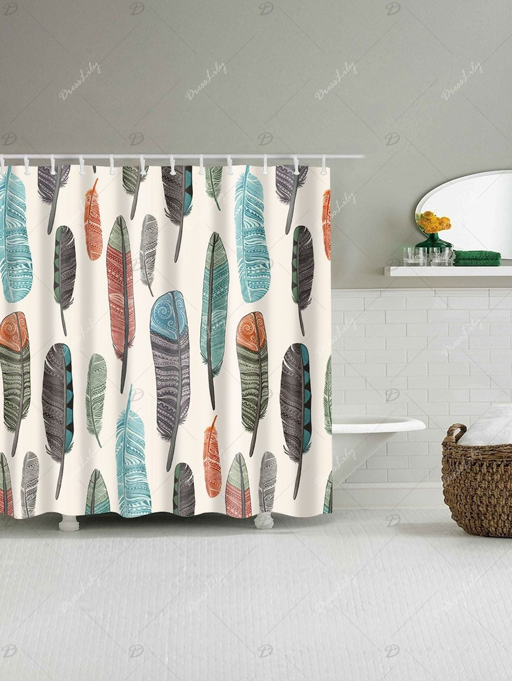 Mildew Resistant Art Feather Fabric Shower Curtain Printed
