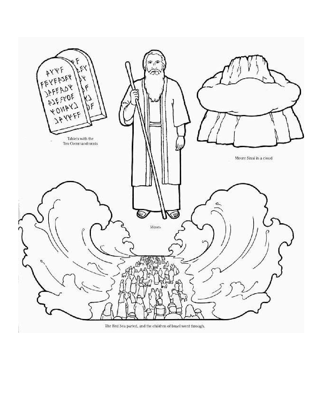 moses parting the red sea coloring page coloring pages