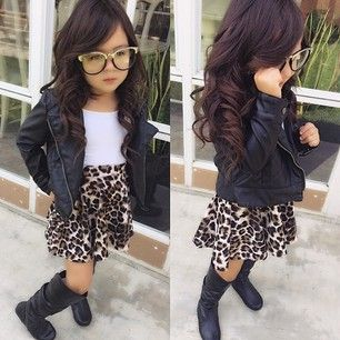 kids fashion baby clothes style leopard