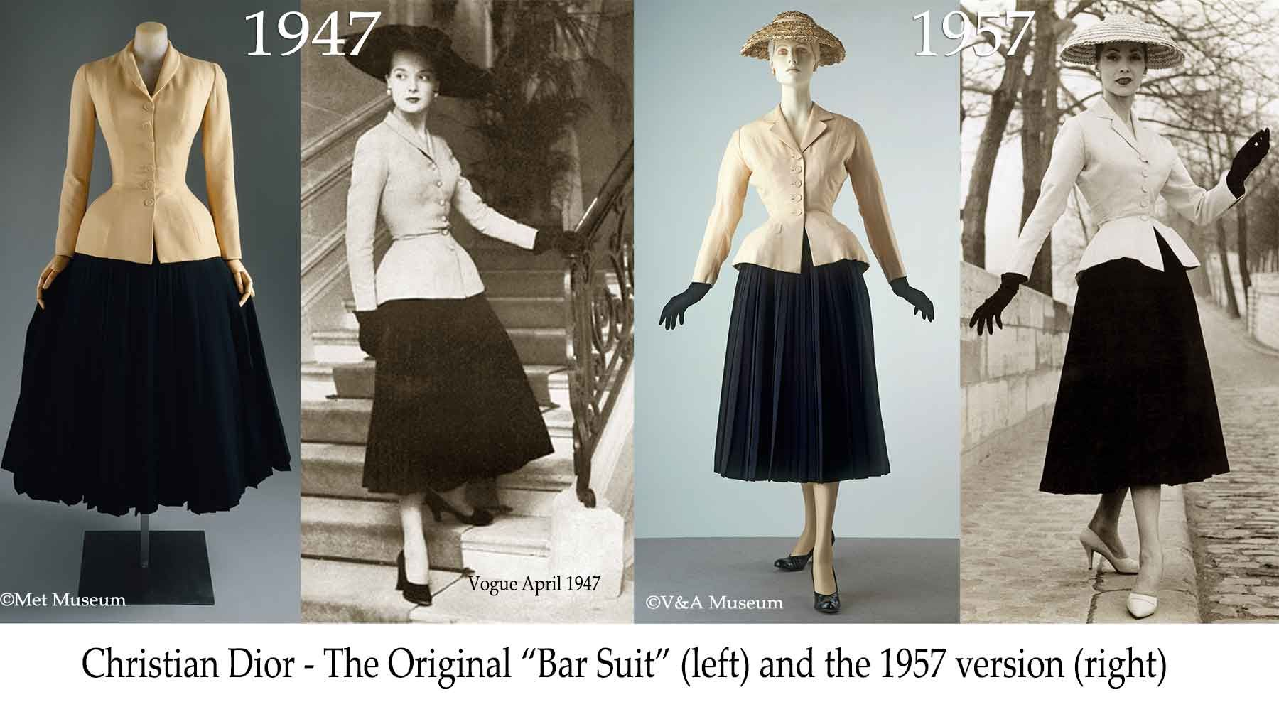 "Christian Dior - Bar Suit - 1947 vs 1957 version The famous ""New ..."