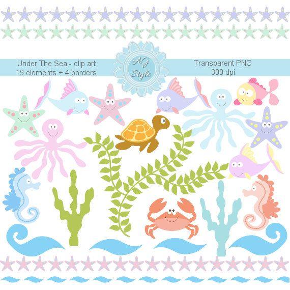 Under The Sea Clipart - Summer Clipart - Marine Animals - Sea Star ...