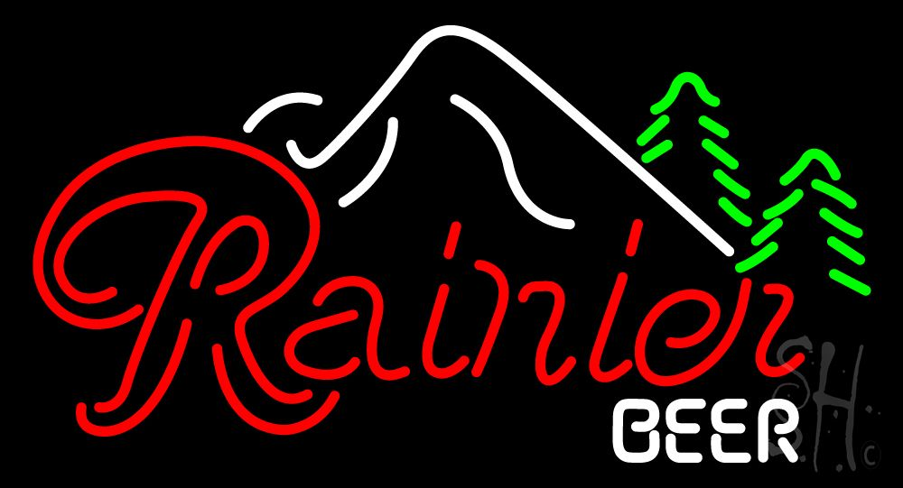 Rainier Beer W Evergeens and Mountain Neon Sign 20 Tall x