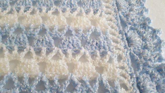 Baby Boy Blanket Crochet Baby Blanket Blue White Strip Baby