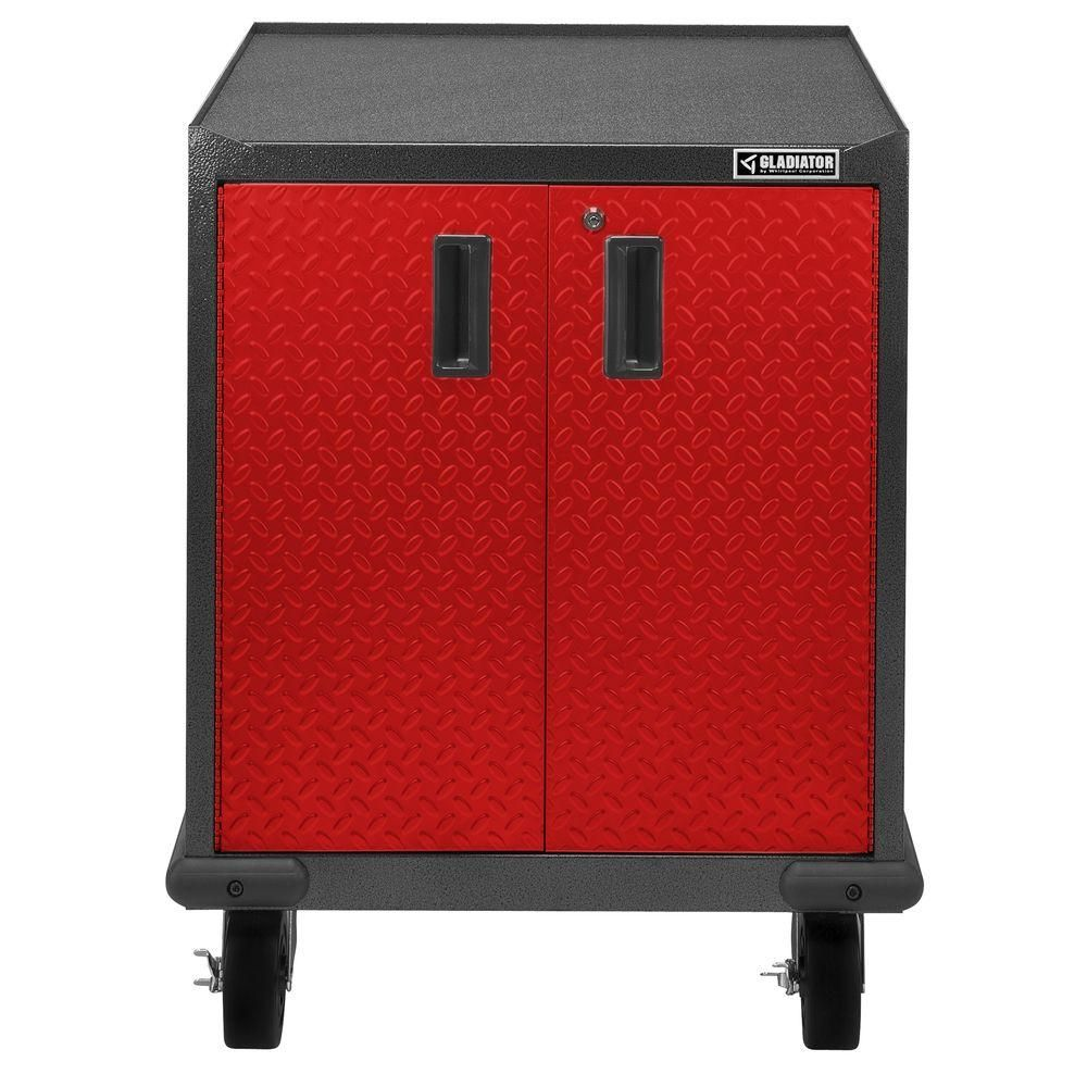 Gladiator Premier Series Pre Assembled 35 In H X 28 In W X 25 In D Steel 2 Door Rolling Garage Cabinet In Red Tread Gagb272ddr With Images Garage Cabinets Gladiator Adjustable Height Workbench
