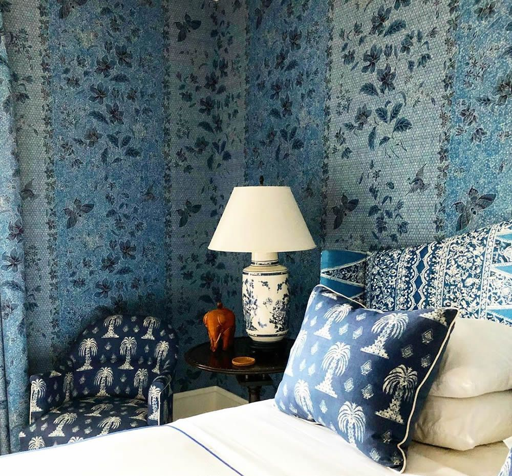 China Seas Antick Batik fabric used as wall covering by