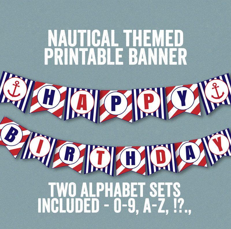 Nautical Bunting Printable, Happy Birthday Banner Nautical