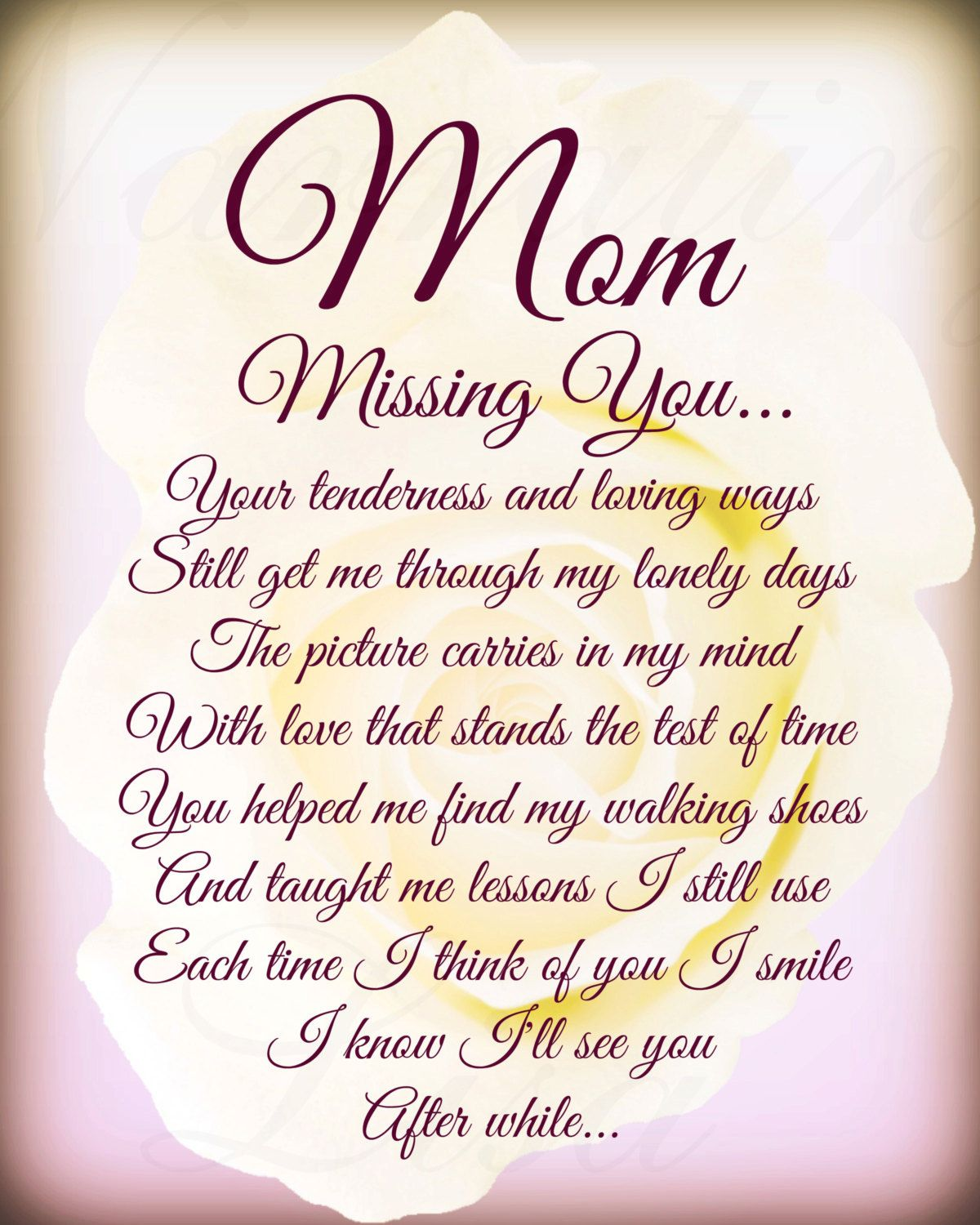 "Missing My Mom In Heaven Quotes New Mom ""missing You"" In Loving Memory Mother Poem Printable Download . Inspiration Design"