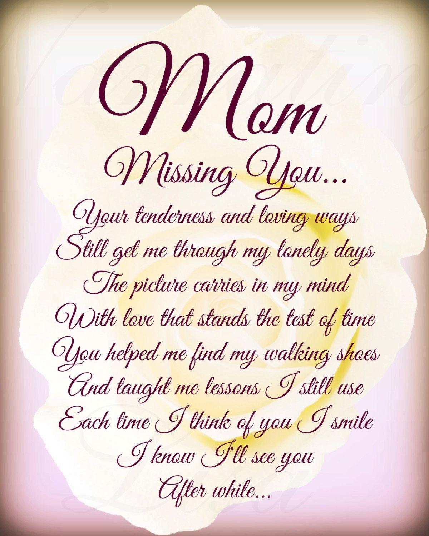 mum memorial poem | Mom Missing You In Loving Memory Mother Poem ...