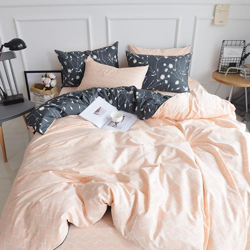 Bedding Double Sided Quilt Cover Set 100 Cotton Peach Black