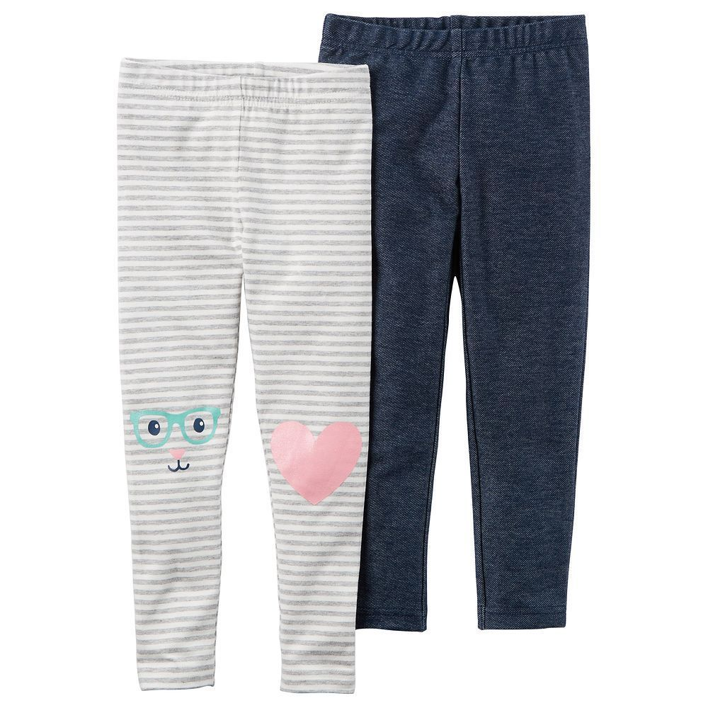 7b0c30a3d Toddler Girl Carter s 2-pk. Striped   Faux-Denim Leggings