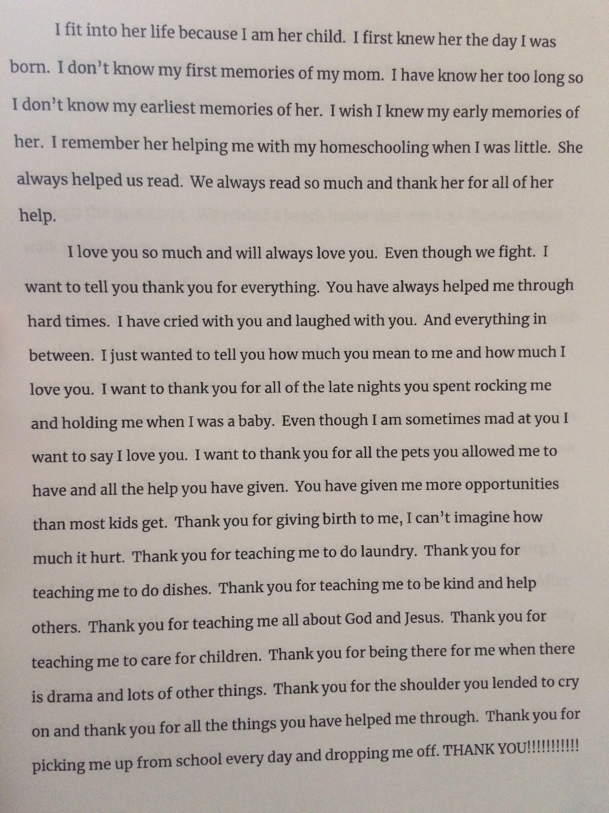 Aubrey Essay About Momma School Paper My Memory Favorite