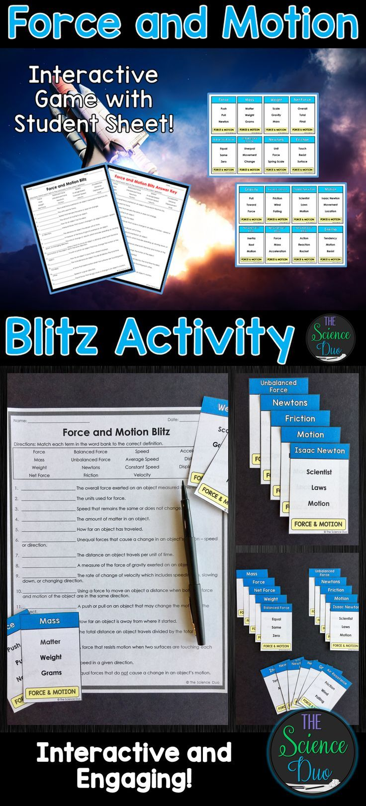 This Force And Motion Themed Activity Focuses On Retaining Vocabulary In An Engaging And Interactive Force And Motion Elementary Science Activities Activities
