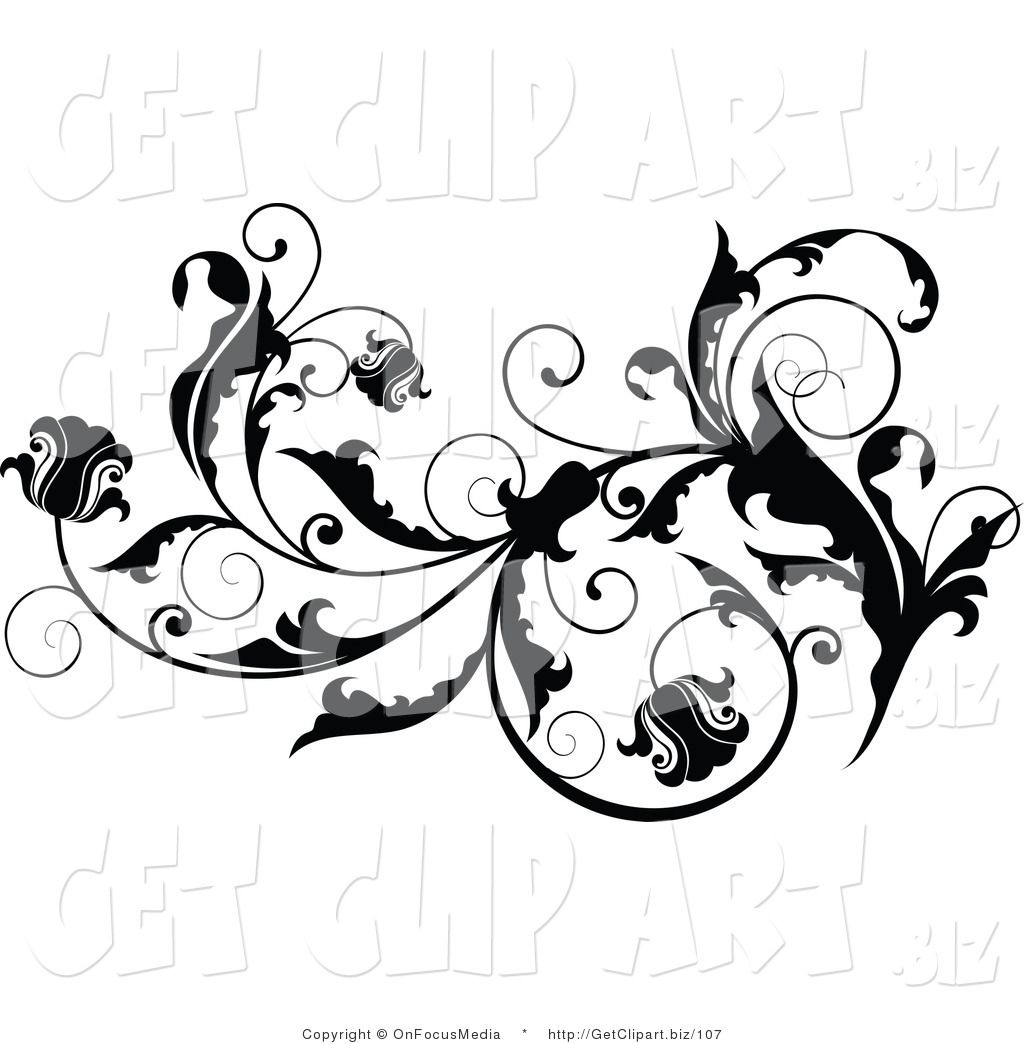 Clip Art of a Black Leafy Vine Design Accent with Scrolling Leaves ...