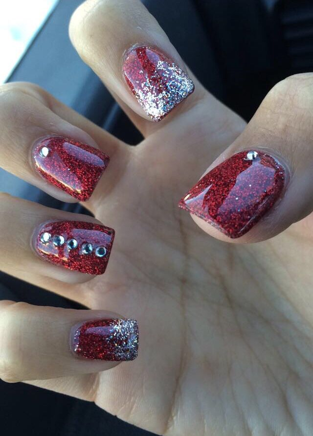 Christmas Nails, glitter nails, red, acrylic, holiday ...
