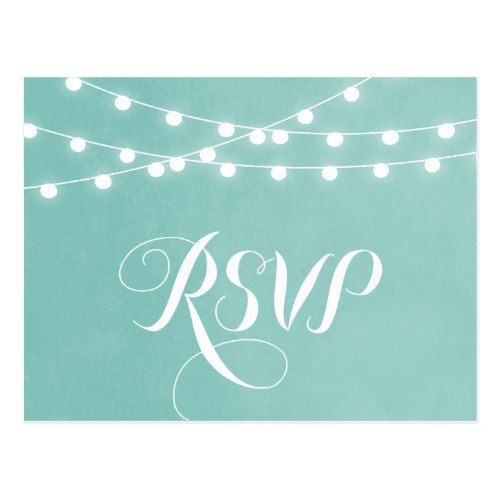 Backyard Wedding RSVP Cards Summer String Lights Wedding RSVP Postcard