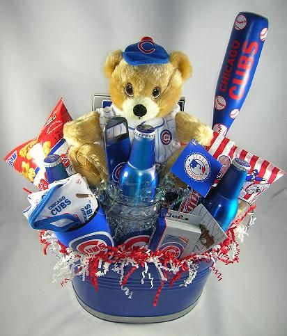 Chicago Cubs Gift Basket Classic $79.99 I sooooooooooo would love to have this!!! Wonder if my kids will see this???? lol | Sports | Chicago cubs gifts, ...