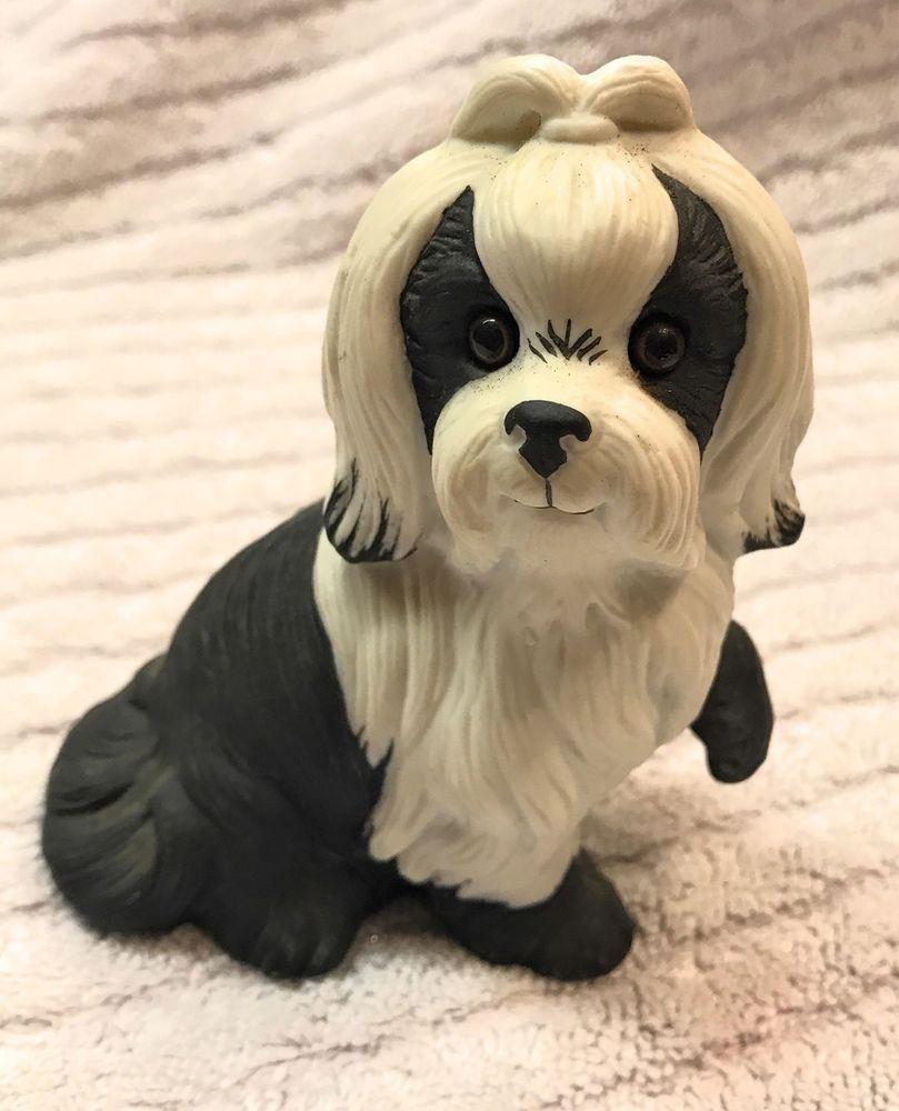 Vintage shih tzu dog matte porcelain figurine white and black