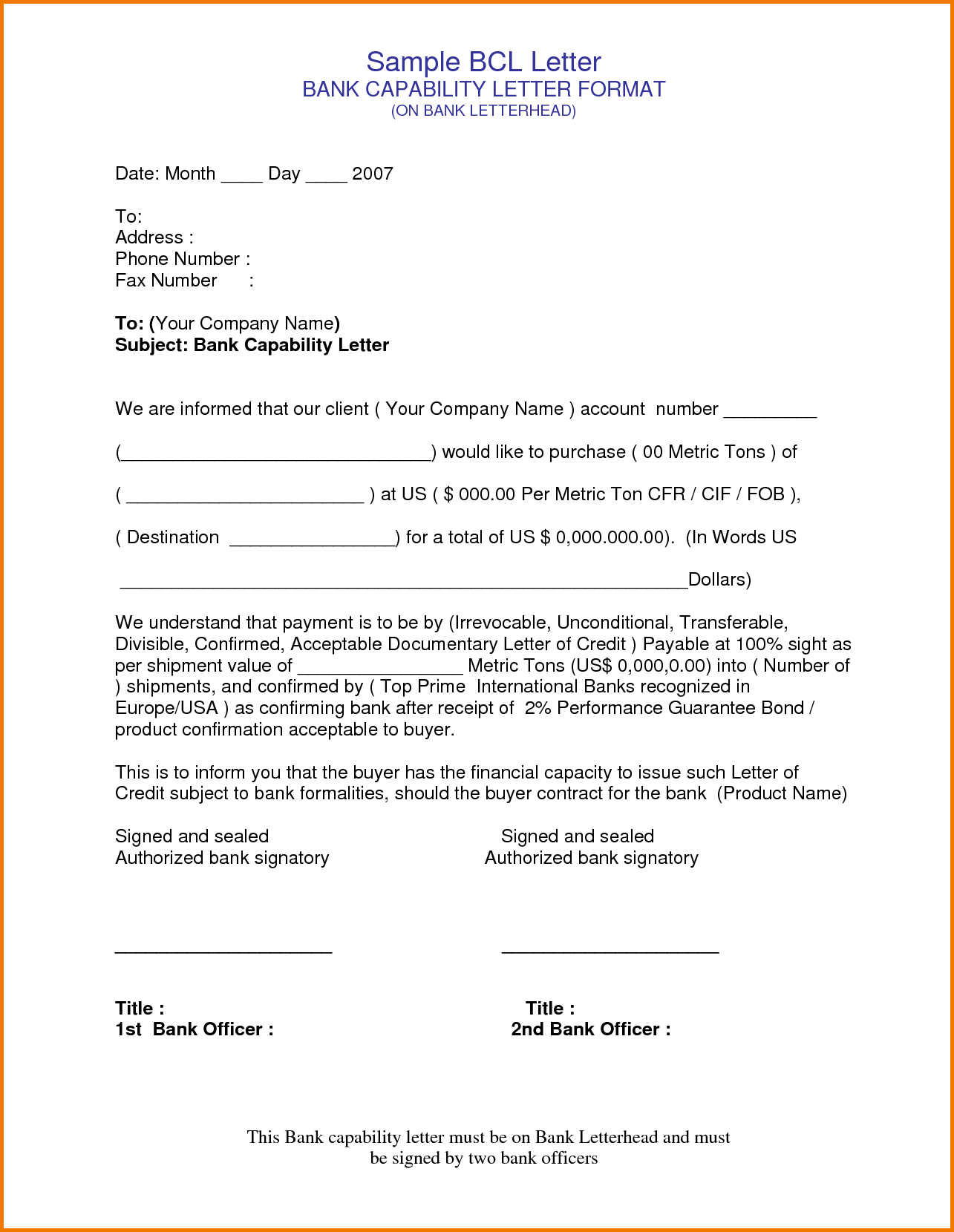 bank authorization letters