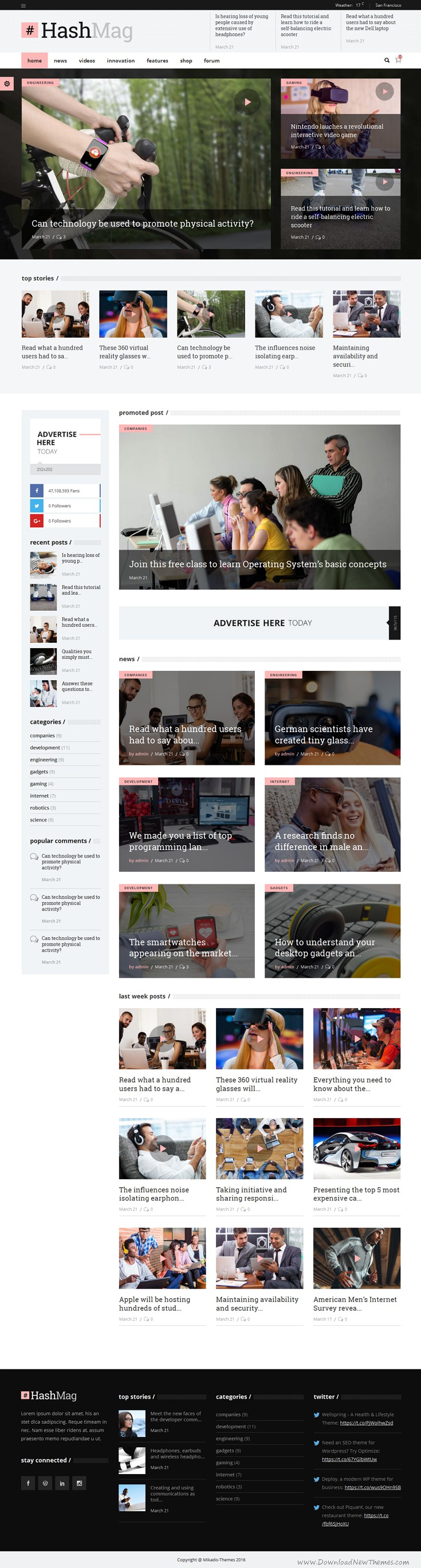 HashMag is new premium WordPress theme for high-end Digital #Video #Magazine or newspapers #website. Download Now!