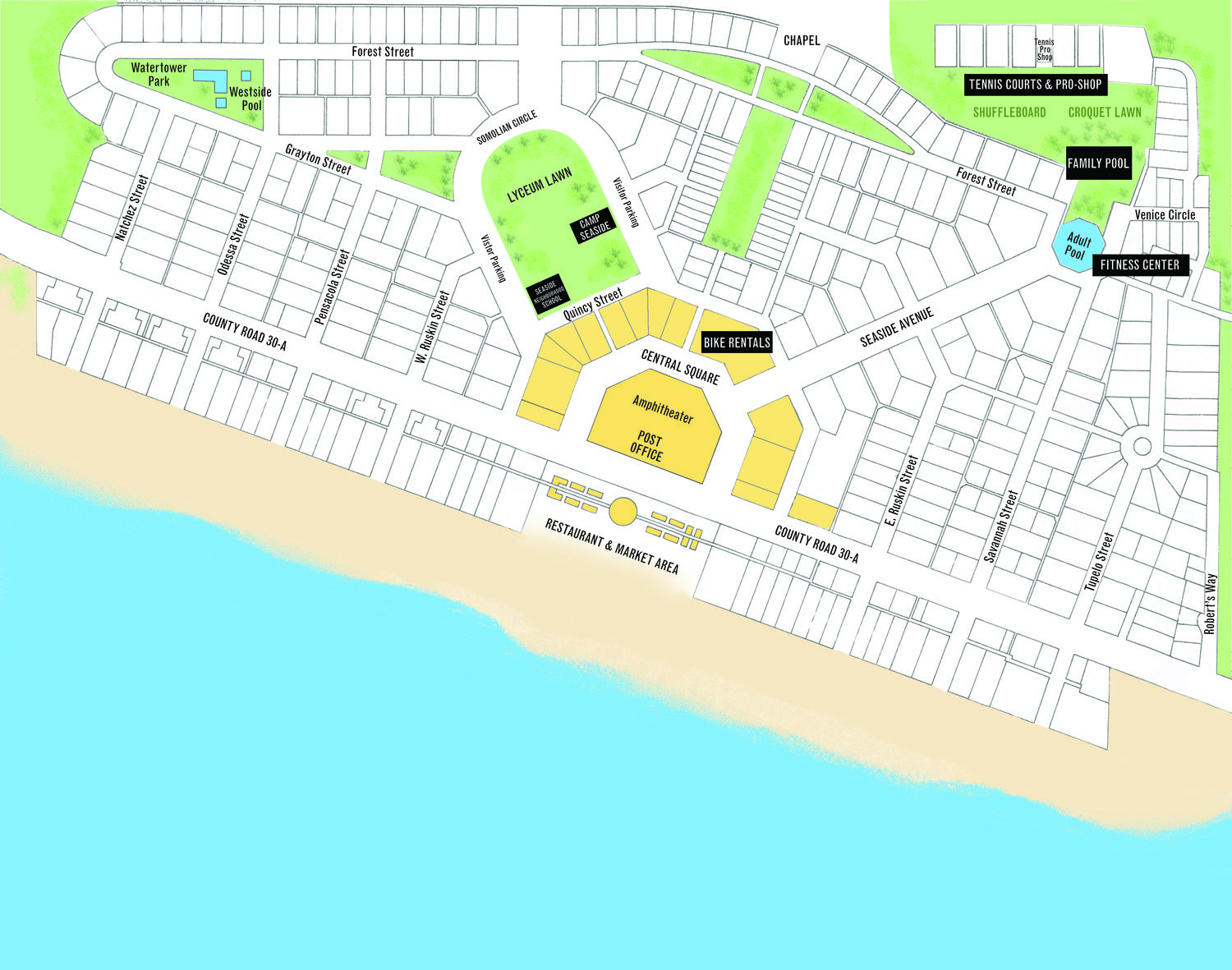 Map Of Seaside Florida.Seaside Florida Is One Of The Most Influetial New Usbanist Projects