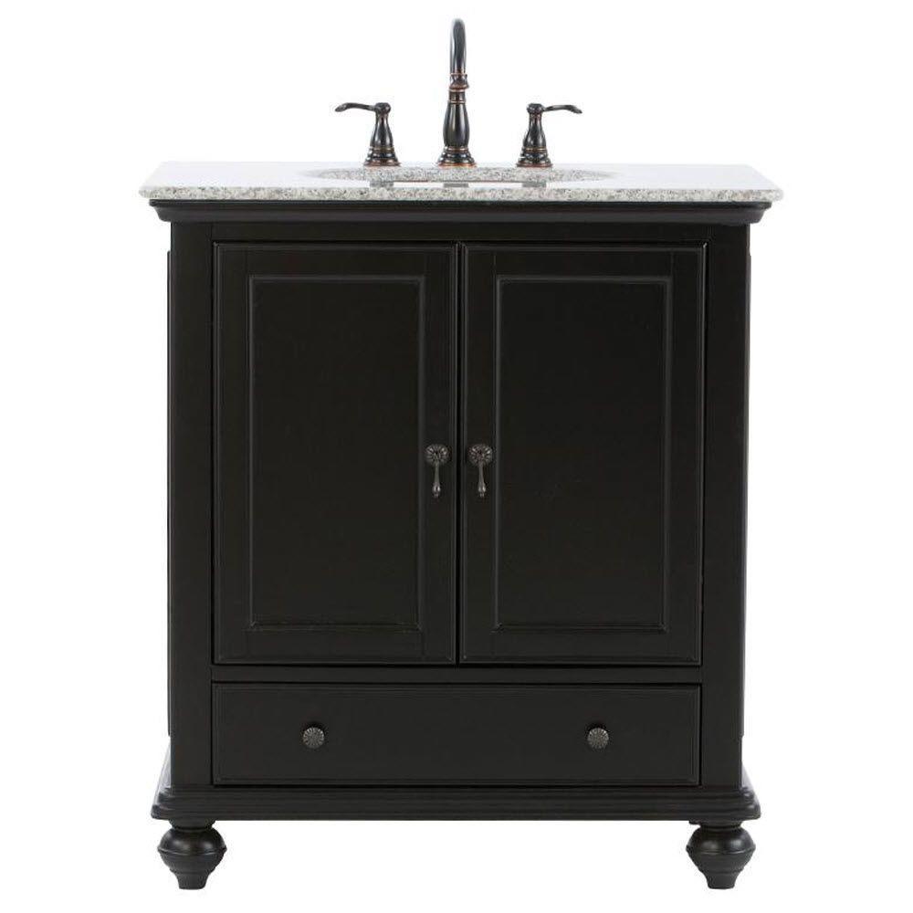 Home Decorators Collection Newport 31 In W X 21 1 2 In D Bath Vanity In Black With Granite Vanity Top In Gray 9085 Vs31h Bk The Home Depot Granite Vanity Tops Black Vanity Bathroom [ 1000 x 1000 Pixel ]