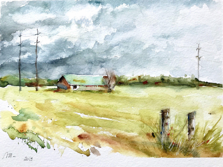 Aquarelle Peinture Originale Grange Dans La Prairie Paysage De
