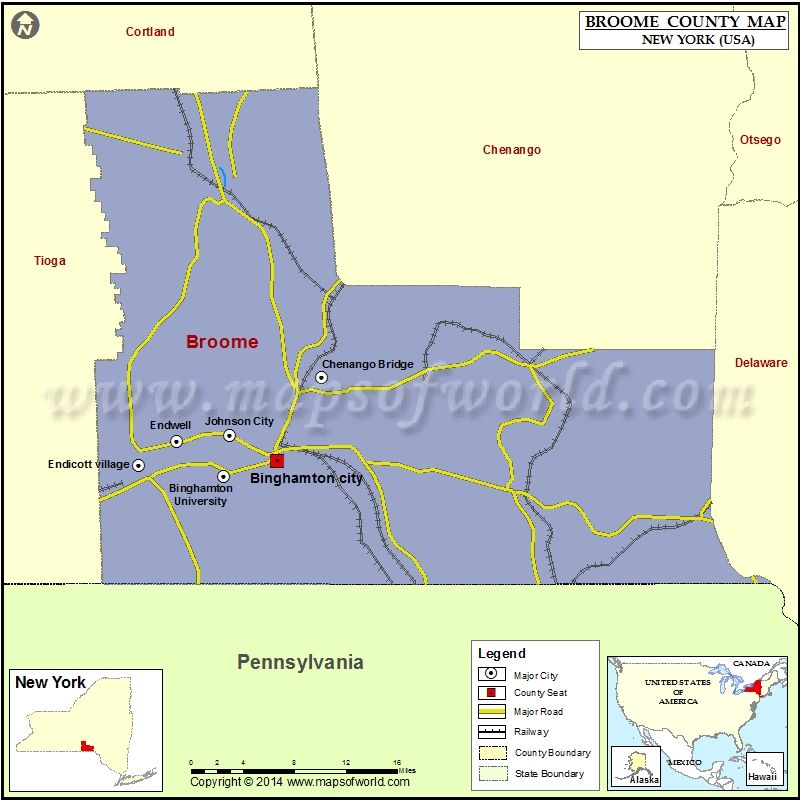 Broome County Map For Free Download Printable Map Of Broome County