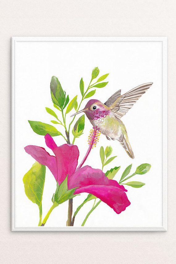 Hummingbird Art, Printable Wall Art | Watercolor ...