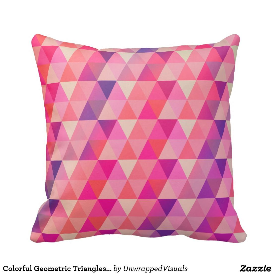Colorful Geometric Triangles Pattern Pillows