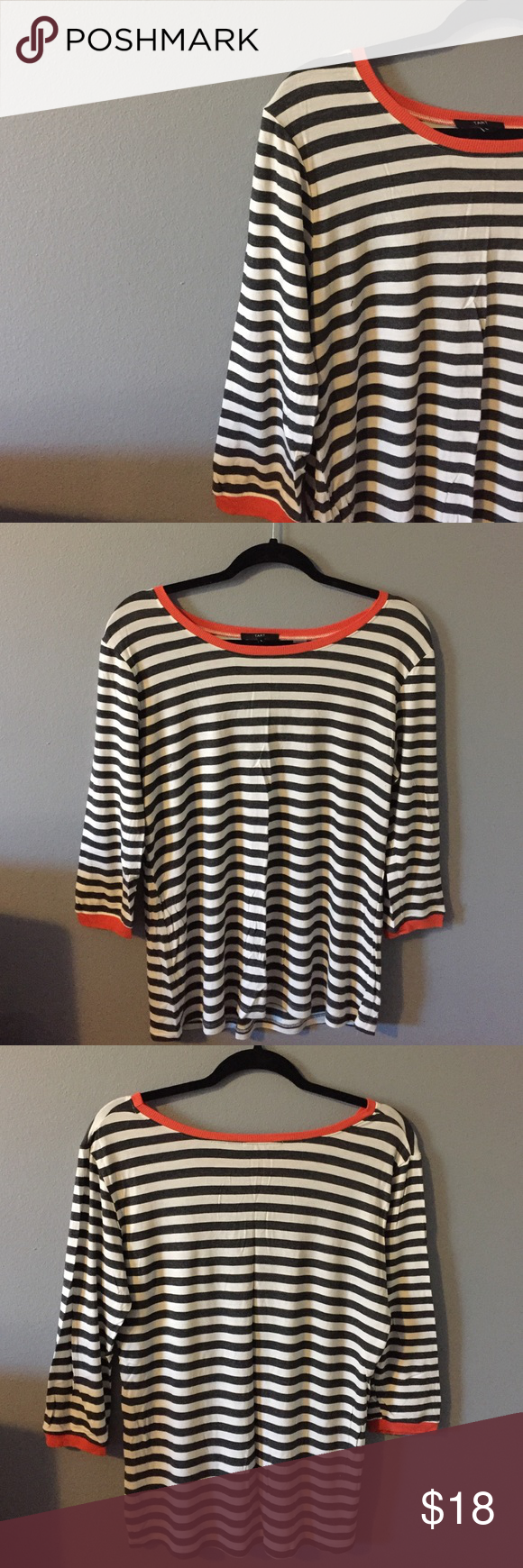 Striped Top from Stitch Fix Really cute Top from Stitch Fix. The brand is Tart.  White and charcoal stripes with orange around the collar and wrists.  95% Rayon, 5% Spandex.  3/4 sleeve.  Excellent condition. Tart Tops Tees - Long Sleeve