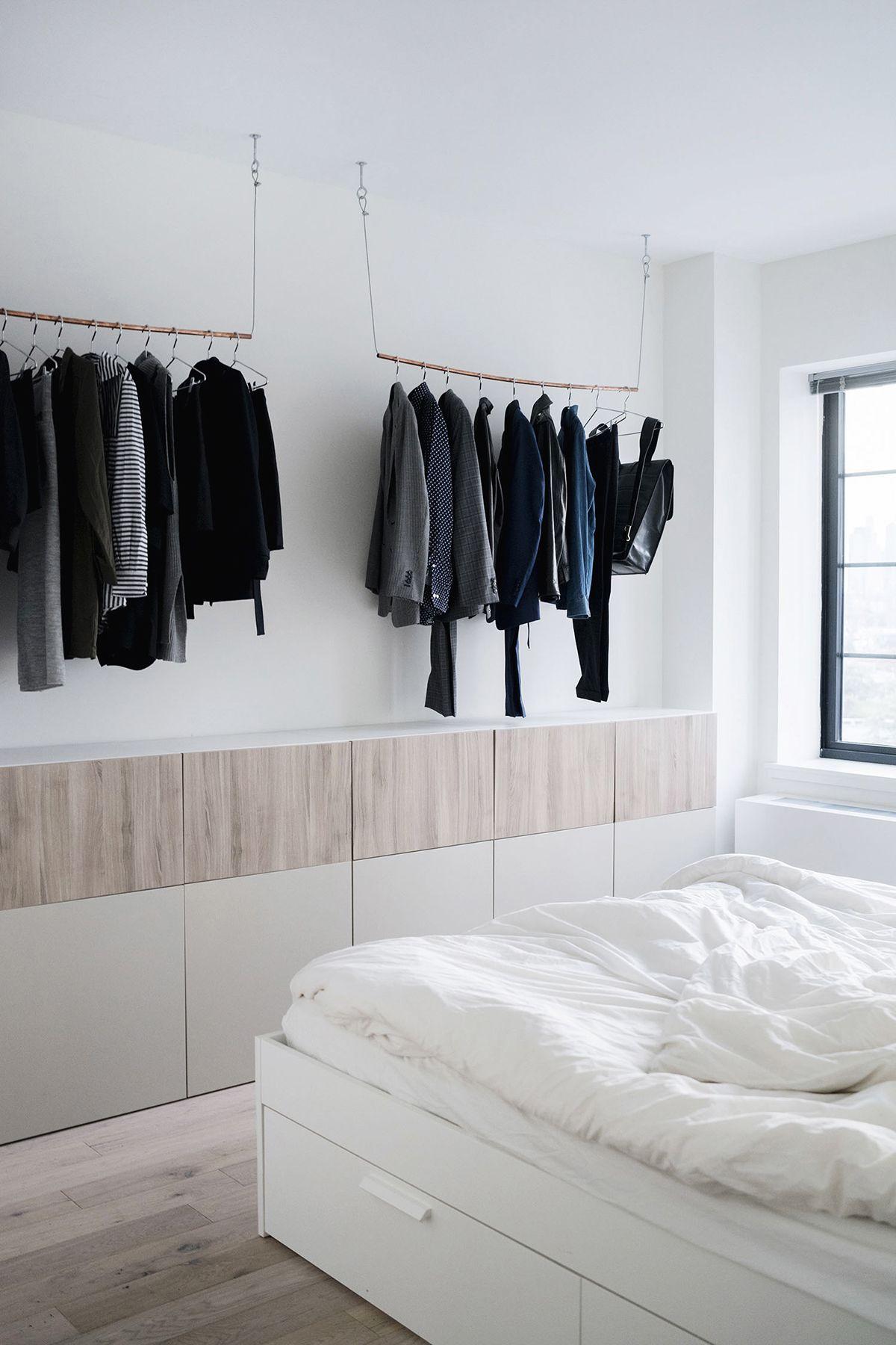 IKEA Besta wall unit + copper pipe hanging clothes rack | Scandinavian,  industrial bedroom in