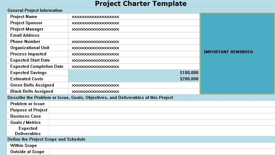 project charter template excel projecttactics project management