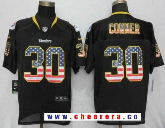 Men s Pittsburgh Steelers  30 James Conner Black USA Flag Fashion Stitched NFL  Nike Elite Jersey a6ee2945f