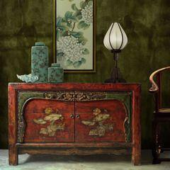 极美家具玄关柜储物柜[摆设]实木仿古雕花2门柜蓬荜生辉玄关柜