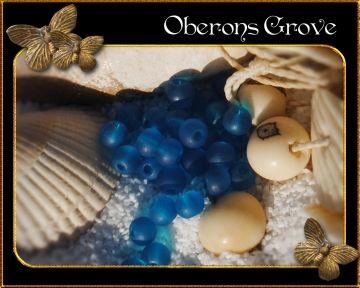 4mm frosted glass beads, cyan, hole:1mm 4mm cyanfarbene gefrostete Glasperlen, Lochgröße: 1mm