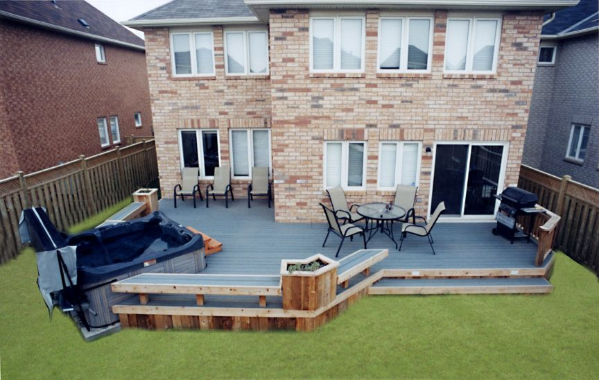This is a low maintenance deck with a spa built in.