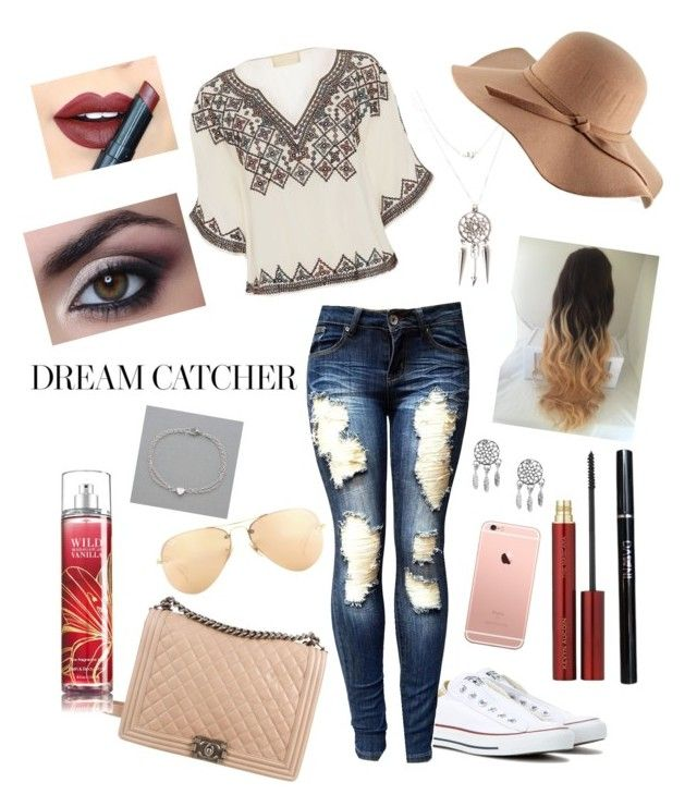 """""""Dream catcher"""" by eliz-love ❤ liked on Polyvore featuring Love Sam, Converse, Chanel, Ray-Ban, Wanderdusk, Fiebiger, Kevyn Aucoin and NLY Accessories"""