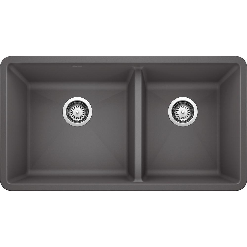 Blanco Precis Undermount Granite Composite 33 In 60 40 Double Bowl Kitchen Sink In Cinder 441479 The Home Depot In 2020 Double Bowl Kitchen Sink Undermount Kitchen Sinks Double Basin