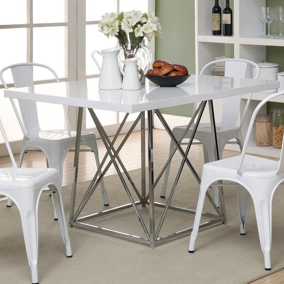 """Monarch Specialties I1046 36"""" x 48"""" Dining Table in Glossy White / Chrome"""