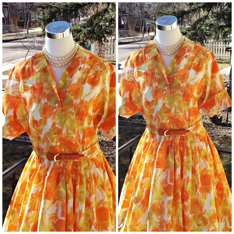 Vintage 1950s 1960s Orange Yellow Abstract Print Shirtwaist Dress Medium VLV Mad Men Mod by PeachburritoVintage on Etsy