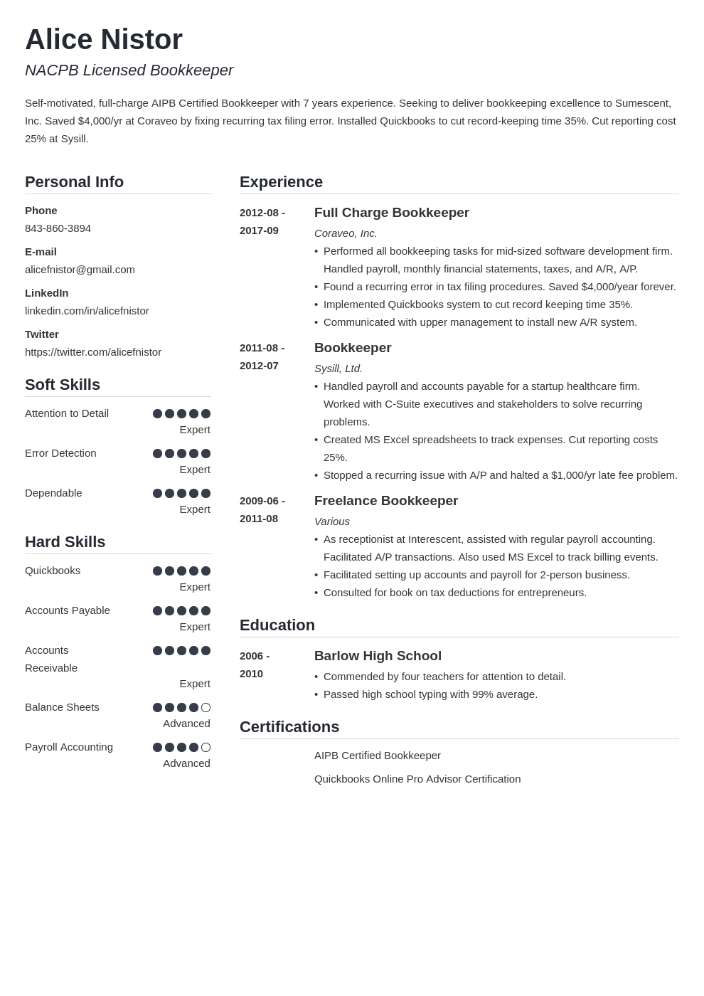 bookkeeper resume example template simple in 2020 Job