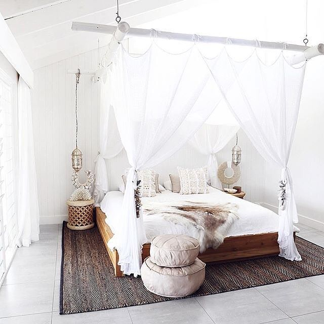 Huge Effect With The Poles Painted White U0026 O Rings Holding Them Up, Like. Canopy  BedroomMaster ...