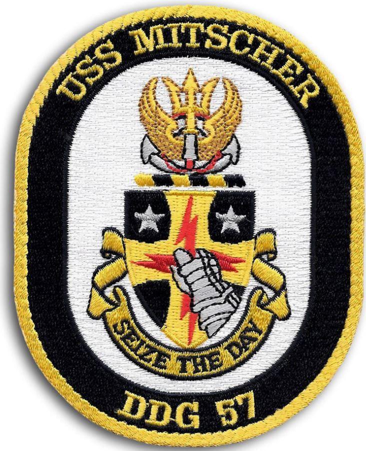 US NAVY DDG-57 USS MITSCHER Guided Missile Destroyer Ship Crest Patch