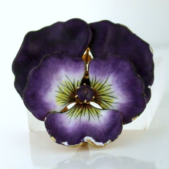 Purple Pansy Enamel over 14k yellow gold by SharpFacetsGallery