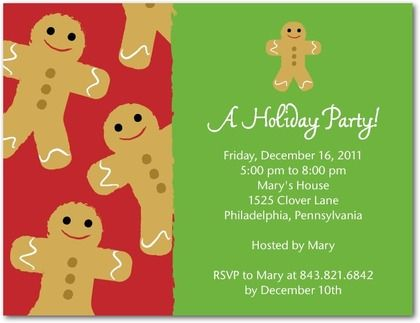 Love This Invite With Cute Gingerbread Man Against A Background Of