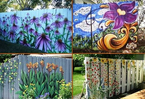 Create year round color with painted flower fences