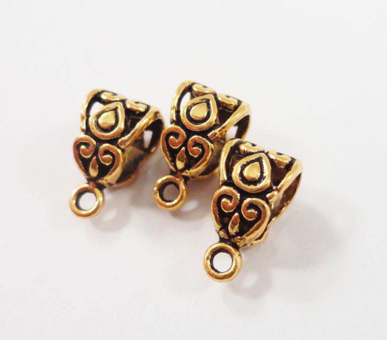 Antique gold bails 13x7mm gold necklace bails jewelry bails gold antique gold bails 13x7mm gold necklace bails jewelry bails gold filigree bails jewelry mozeypictures Images