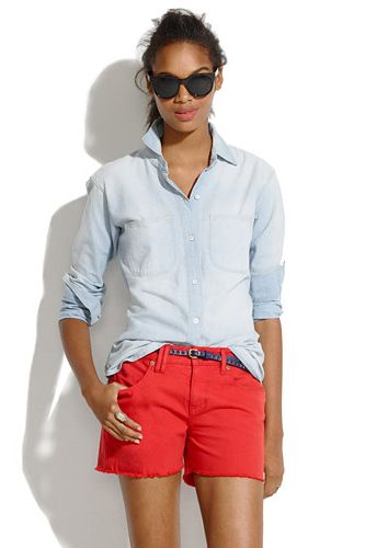 jeans shirt + red shorts