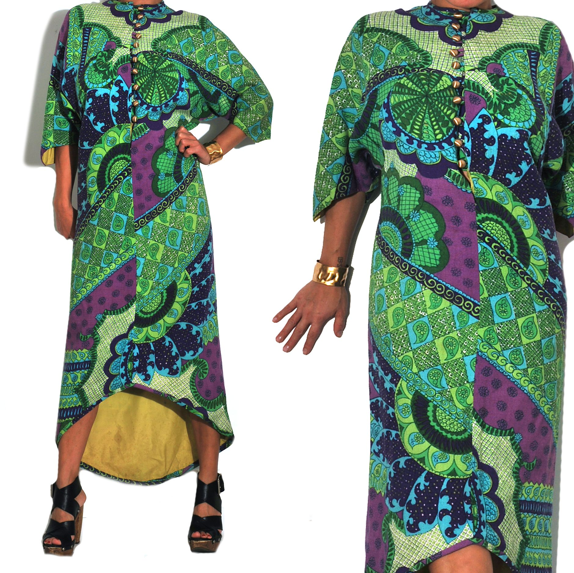 1960s Vintage WANDA BELLI Psychedelic Maxi Tunic. A curated selection of designer & unique vintage by A Part of the Rest