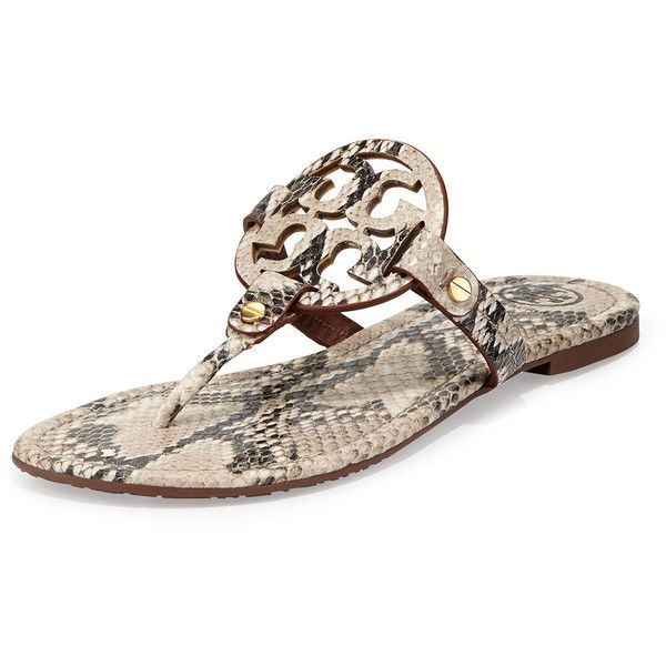 6a0db75a87f6 Tory Burch Miller Snake-Print Logo Thong Sandal ( 225) ❤ liked on Polyvore